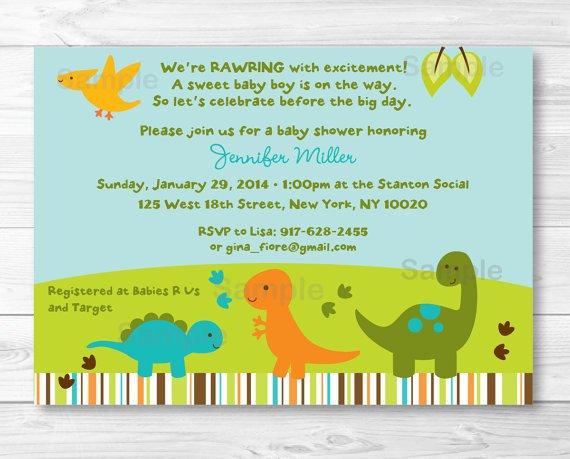 Dinosaur Baby Shower Invitations Etsy