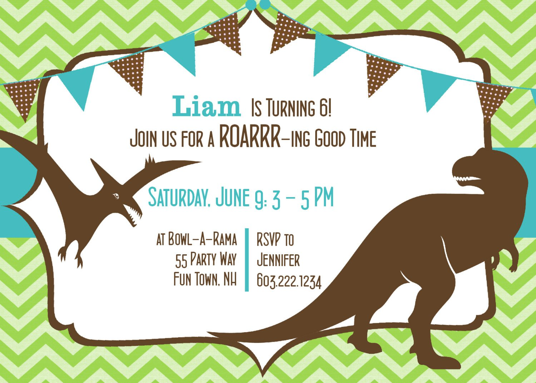 Dinosaur Birthday Invitations Etsy