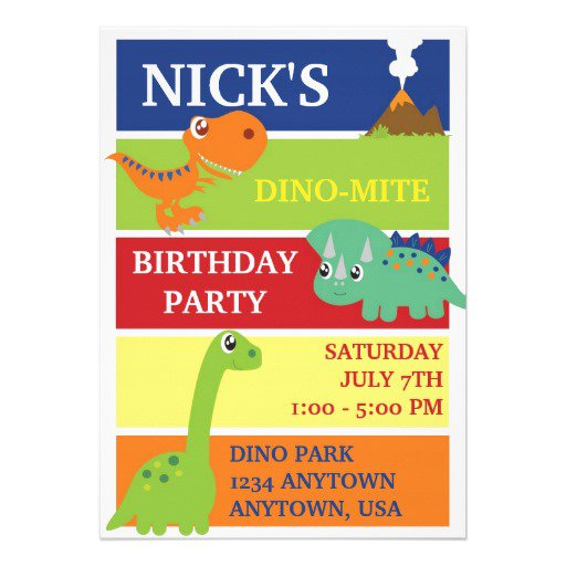 Dinosaur First Birthday Invitations