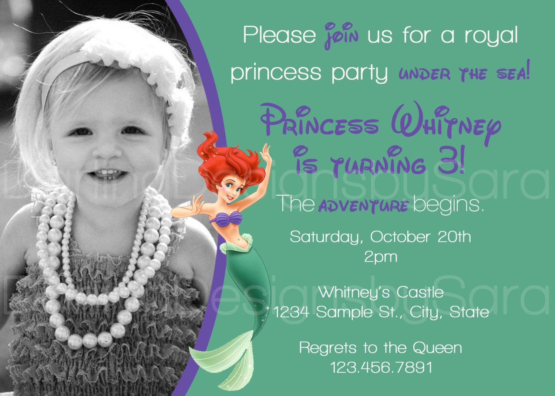 Disney Ariel Birthday Invitations
