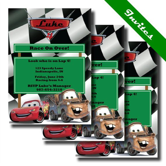 Disney Cars Mater Invitations
