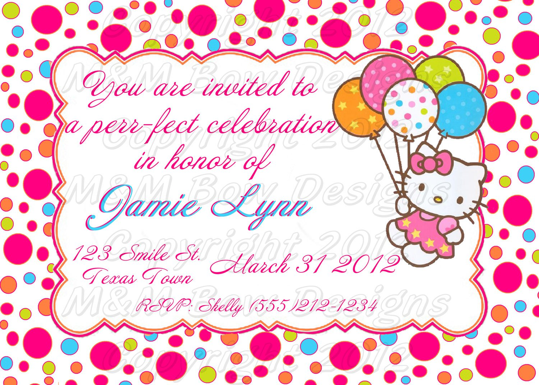 Diy Hello Kitty Birthday Invitations