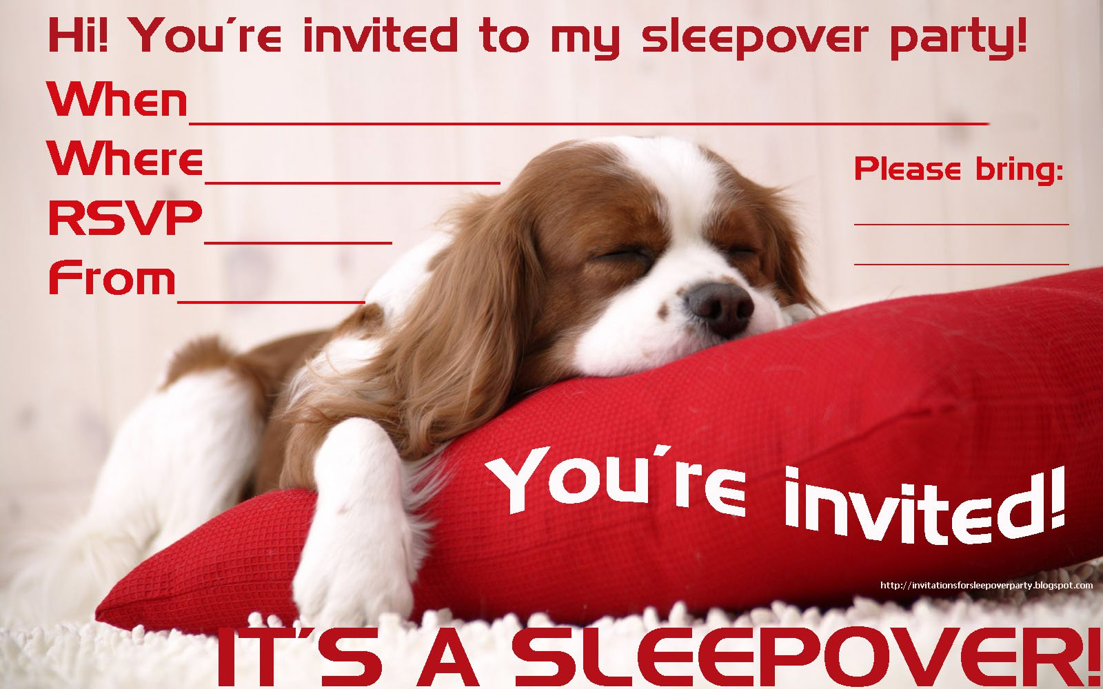 Dog Sleep Over Invitation Templates