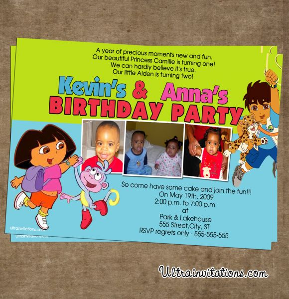 Dora And Diego Printable Party Invitations