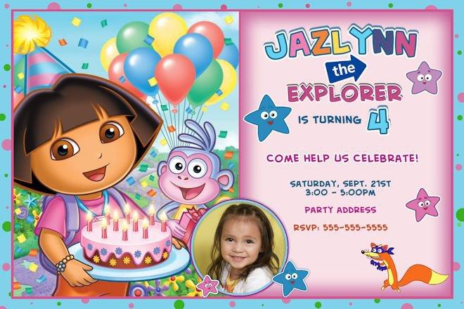 Dora Birthday Party Invitations Free