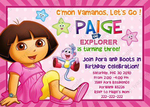 Dora Birthday Party Invitations Templates