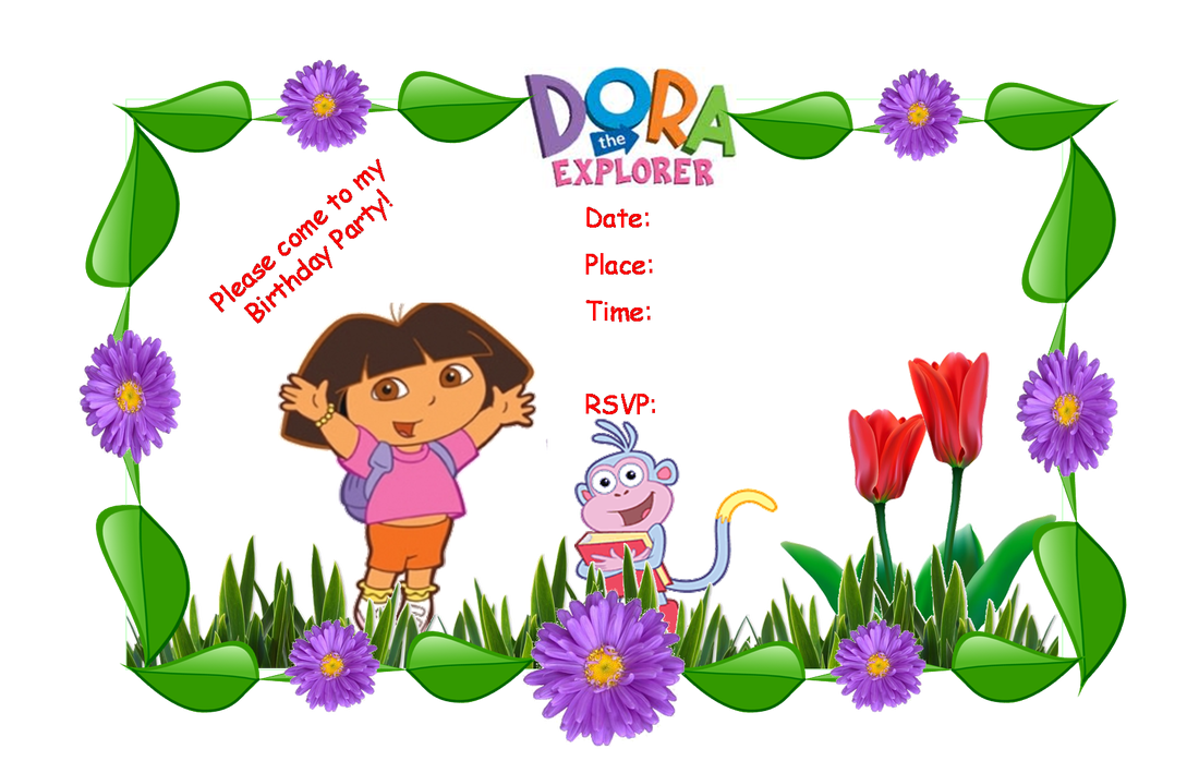 Dora Party Invitation Templates – Printable Dora Birthday Invitations