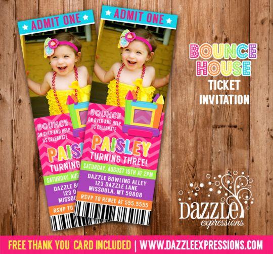 Double Bounce House Birthday Invitation