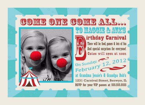 Double Circus Birthday Invitation Wording