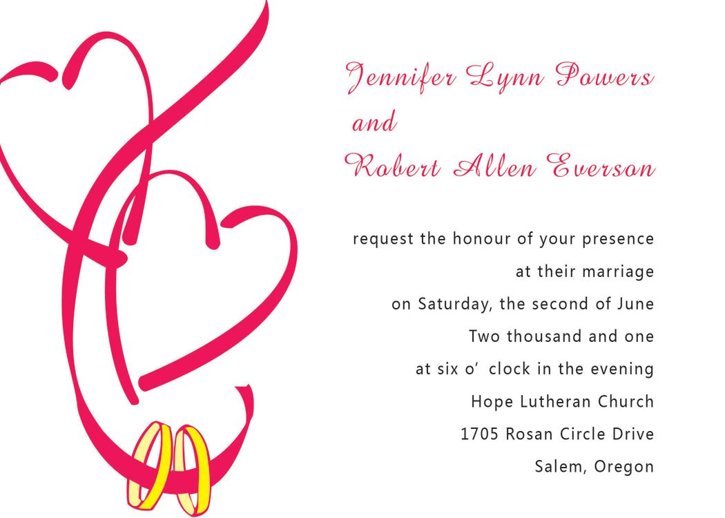 Double Heart Wedding Invitation Templates