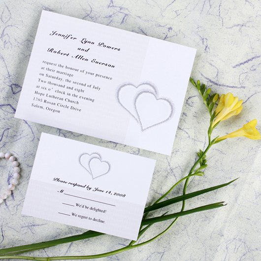 Double Heart Wedding Invitations