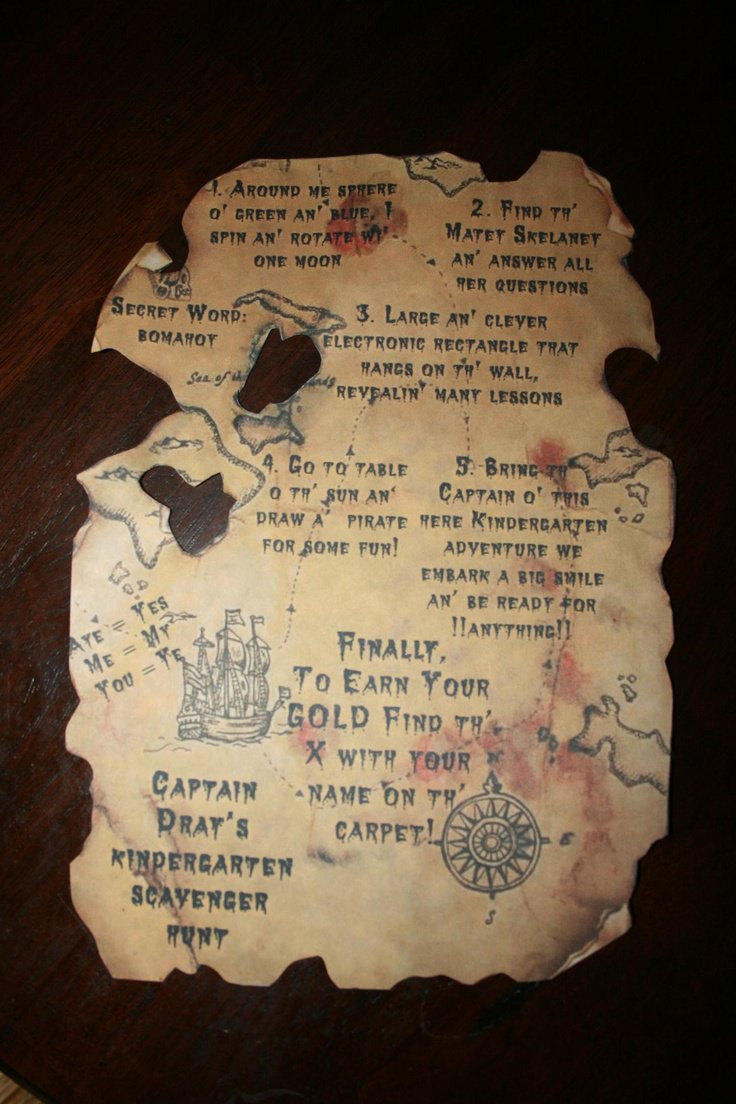 Downloadable Treasure Map Invitations