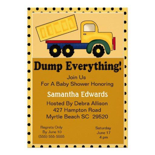 Dump Truck Baby Shower Invitations