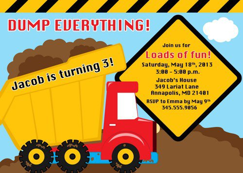 Dump Truck Invitation Templates