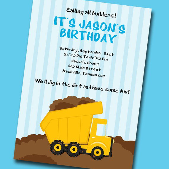 Dump Truck Party Invitation Template