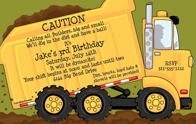 Dump Truck Party Invitation Wording