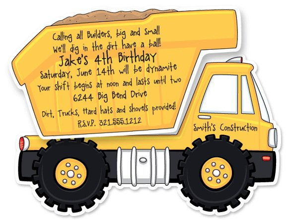 Dump Truck Party Invitations