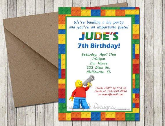 Dyi Lego Birthday Invitation