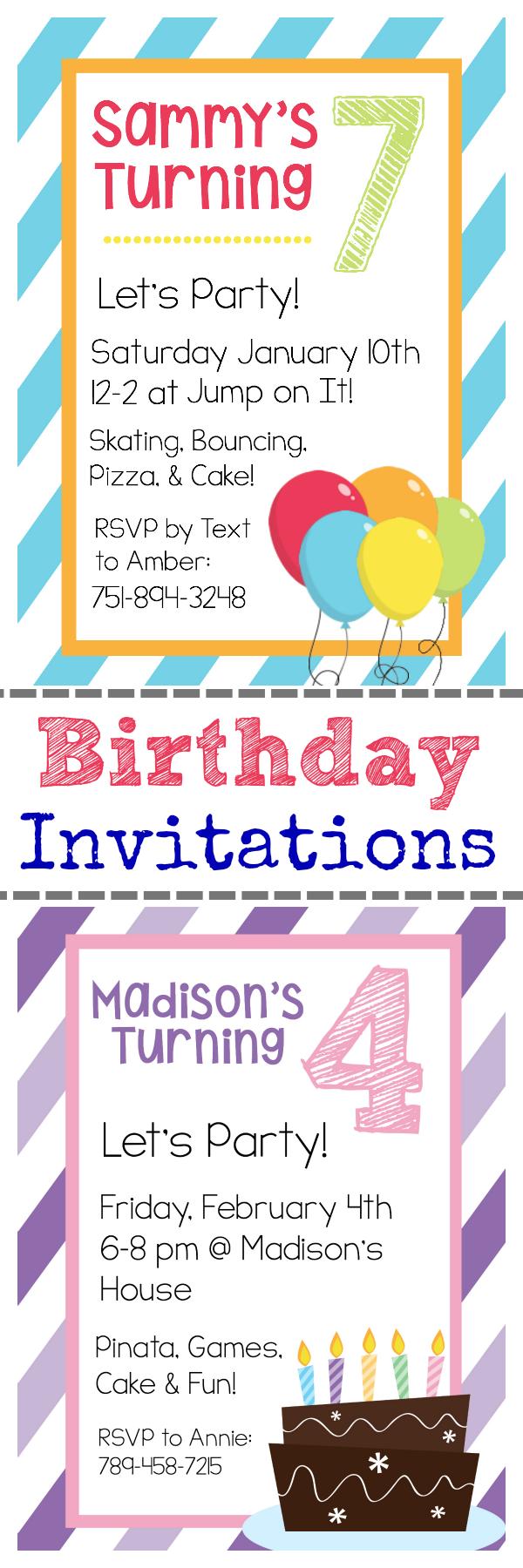 Easy Free Printable Invitations
