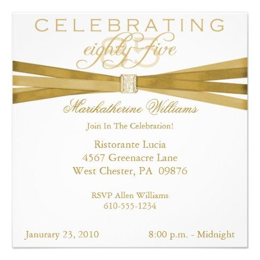 Elegant 85th Birthday Invitations
