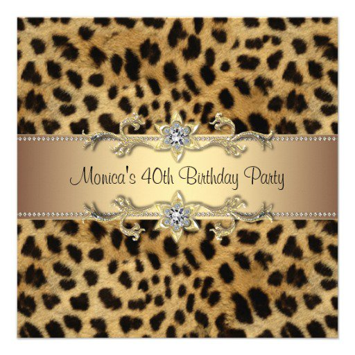 Elegant Leopard Print Birthday Invitations