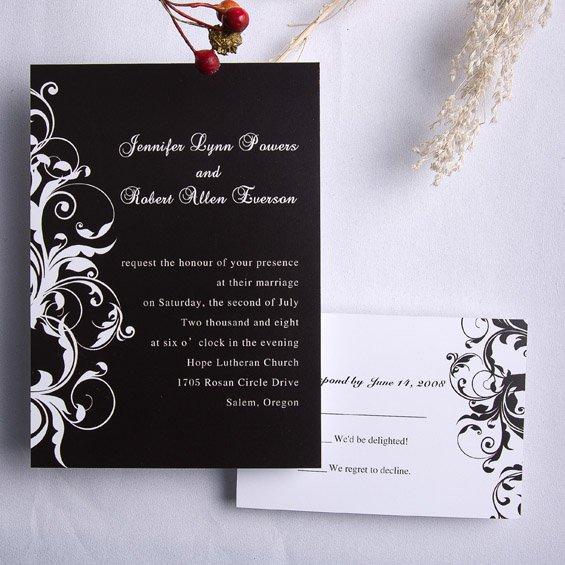 Elegant White And Gold Wedding Invitations