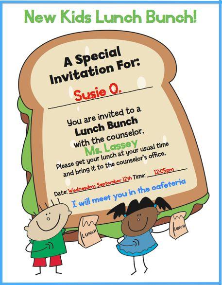 Elementary Lunch Bunch Invitation