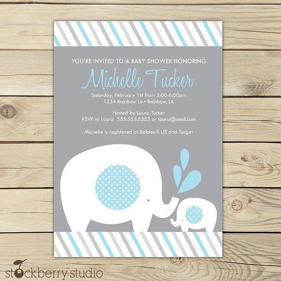 Elephant Baby Shower Invitations Printable Free