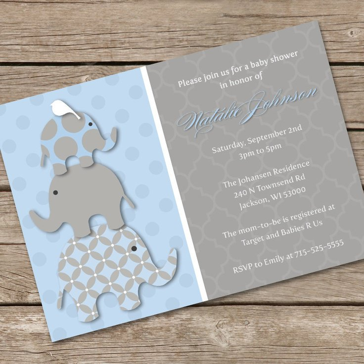 Elephant Baby Shower Invitations Templates