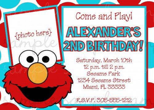 Elmo Birthday Invitation Cards