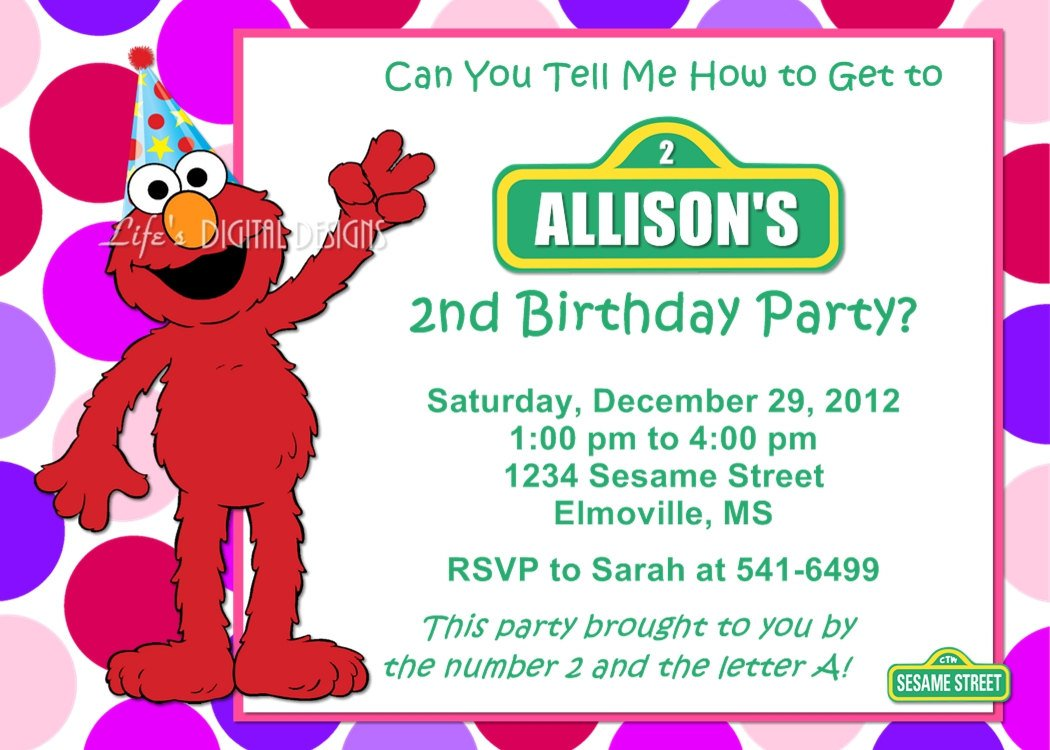 Elmo Birthday Invitations Personalized