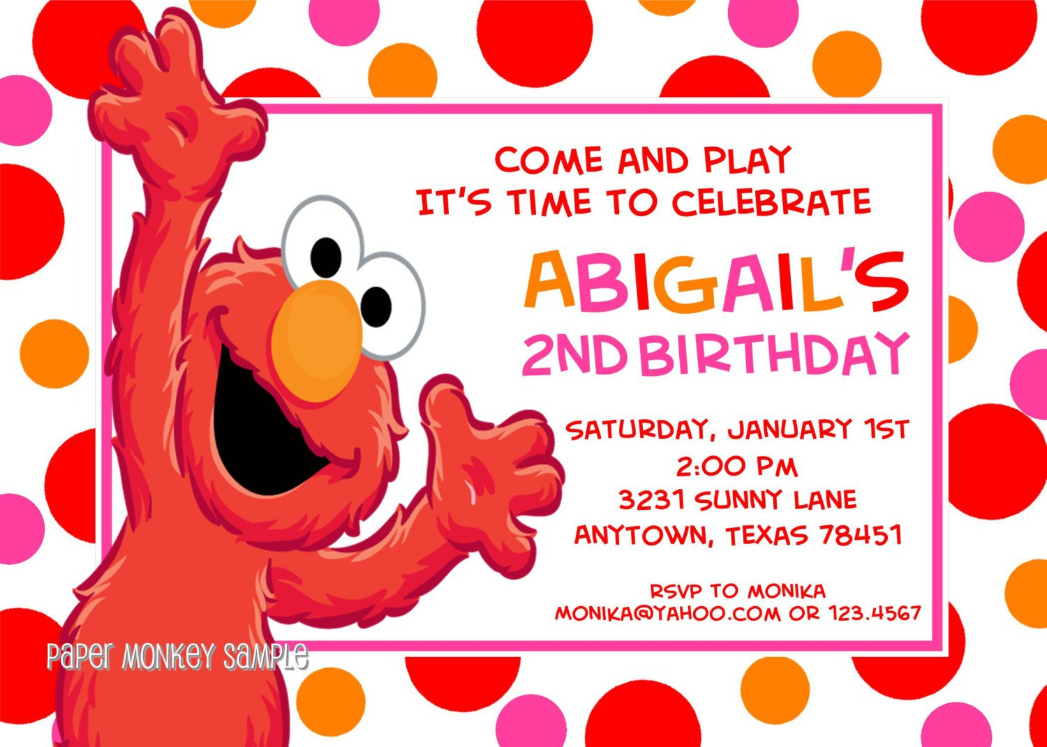 Elmo 1st birthday invitations for Elmo template for invitations