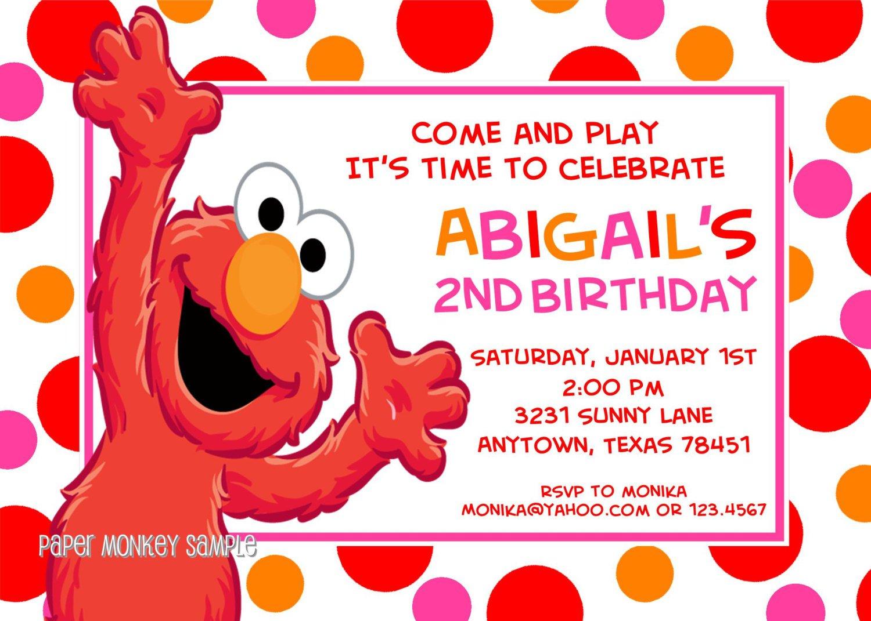 Elmo First Birthday Invitations