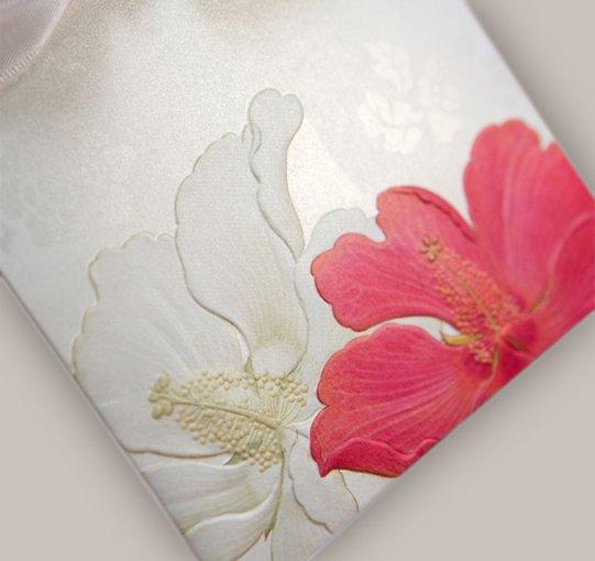 Embossed Flower Pocket Printable Wedding Invitations