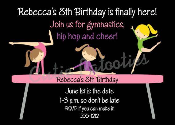 Emma Gymnastics Birthday Invitations