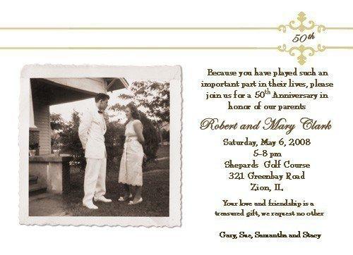 Examples 50th Wedding Anniversary Invitations