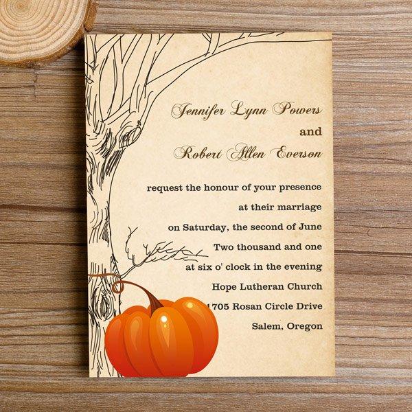 Fall Pumpkin Wedding Invitations