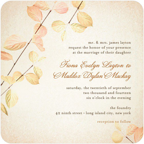 Fall Wedding Invitation Kits