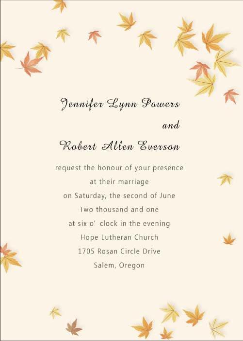 Fall Wedding Invitation Kits Discount