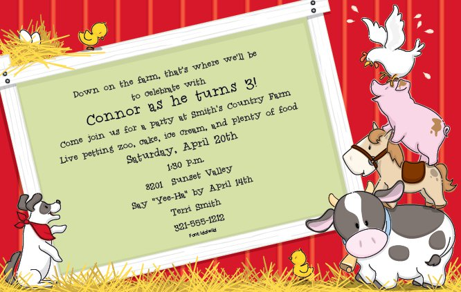 Farm 1st Birthday Invitation Wording