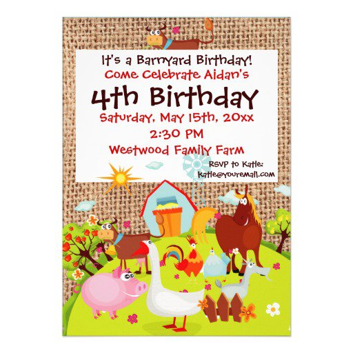 Farm 1st Birthday Invitations