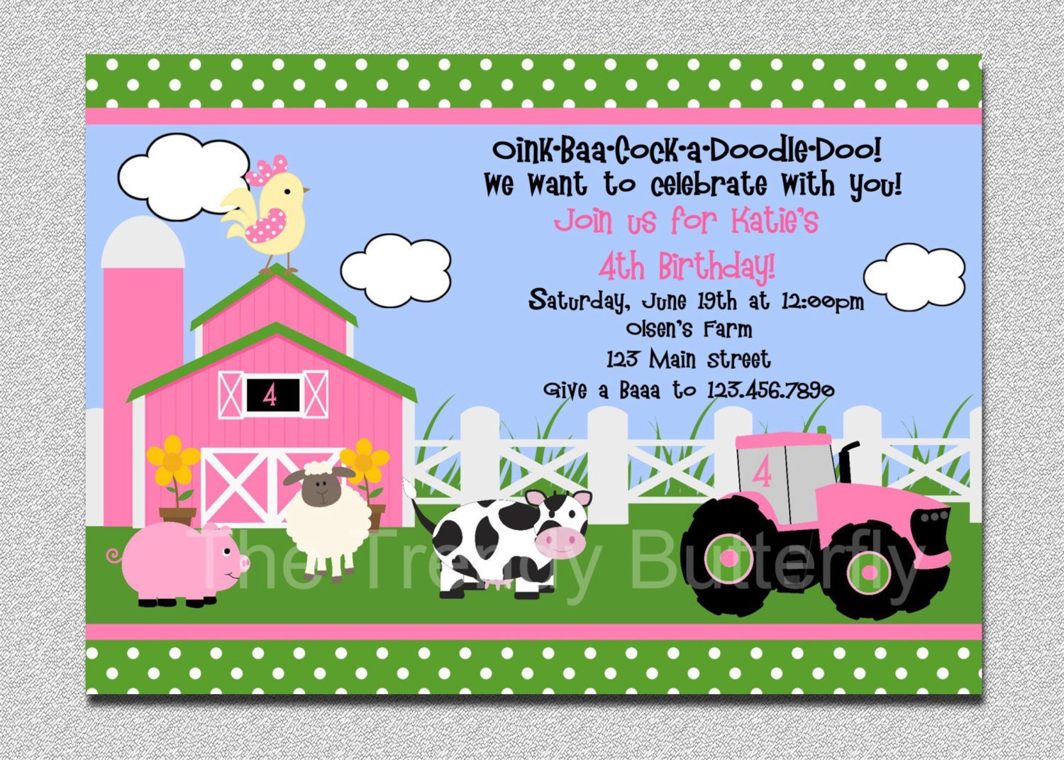 Farm Animal 1st Birthday Invitations