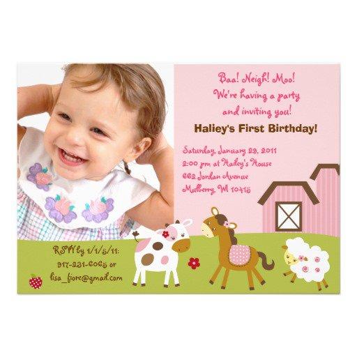 Farm Animal Birthday Invitations