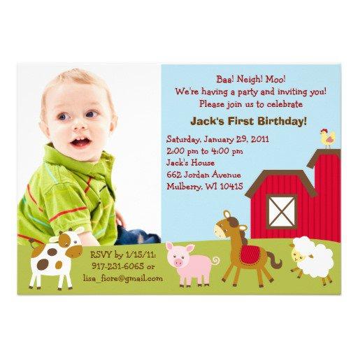 Farm Animal Birthday Invitations Australia