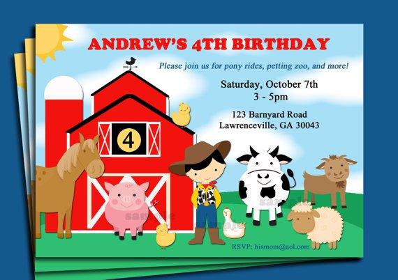 Farm Animal Birthday Invitations Wording