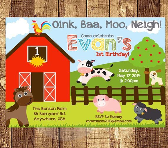 Farm Animal First Birthday Party Invitations