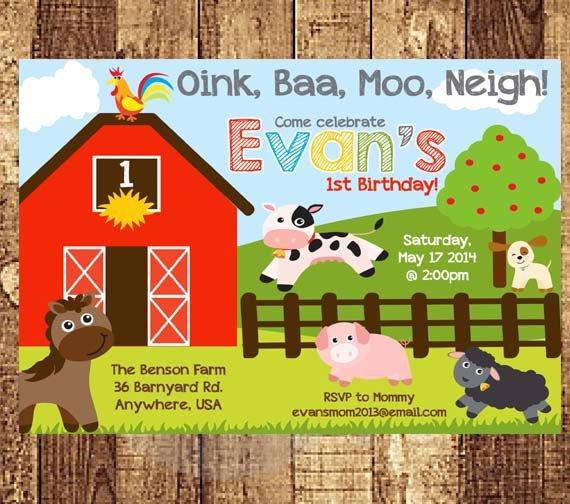 Farm Animal First Birthday Party Invitations