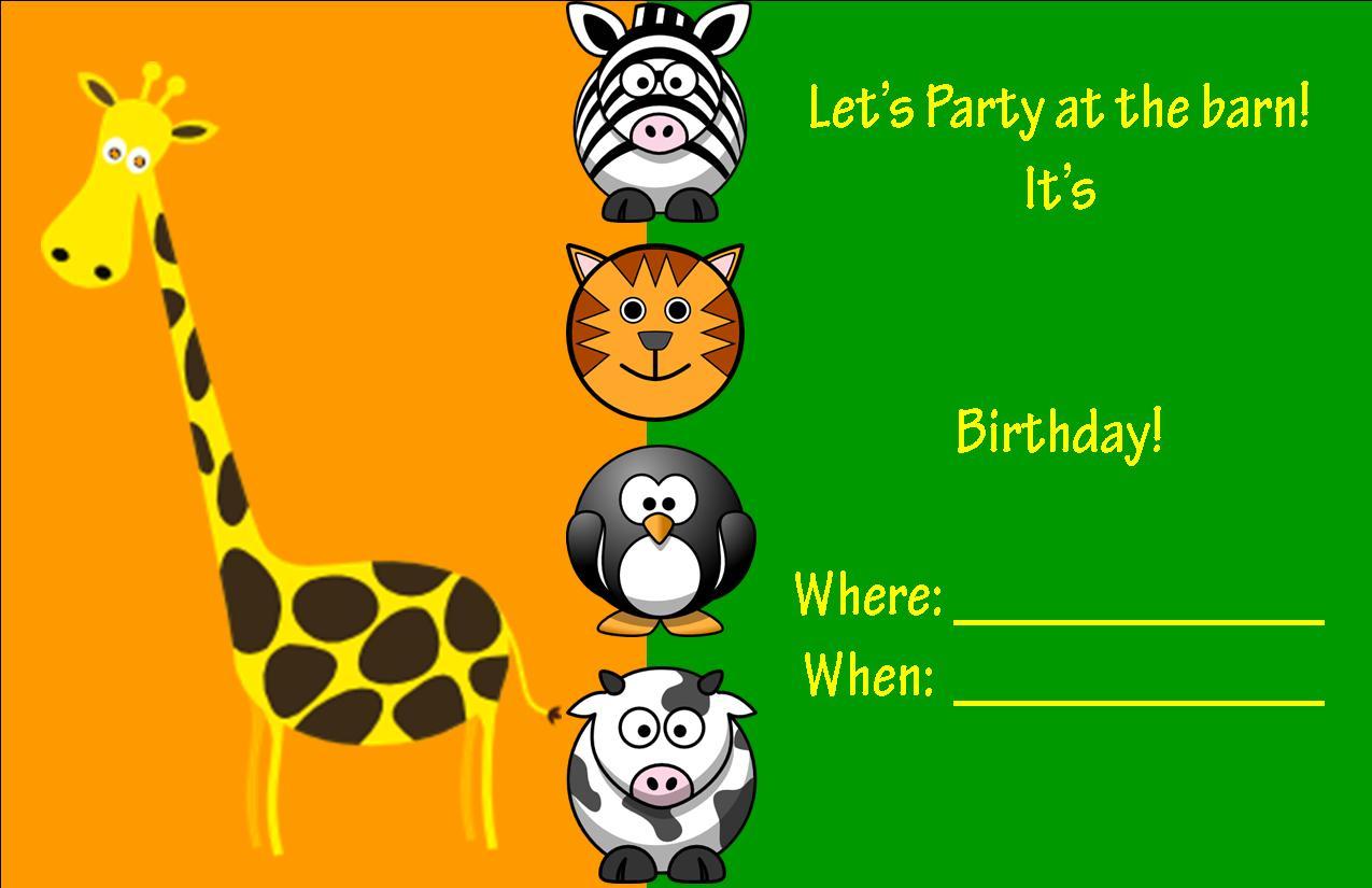Farm Animal Party Invitation Templates