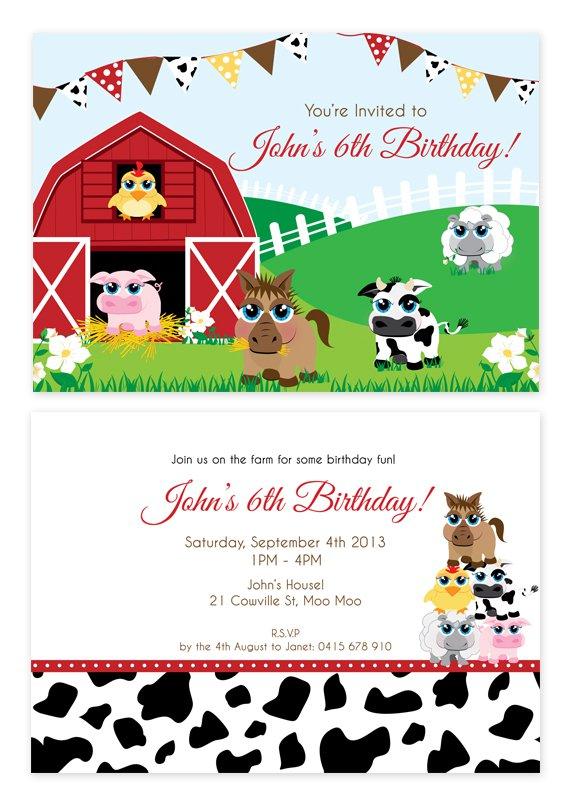 Farm Animal Party Invitations