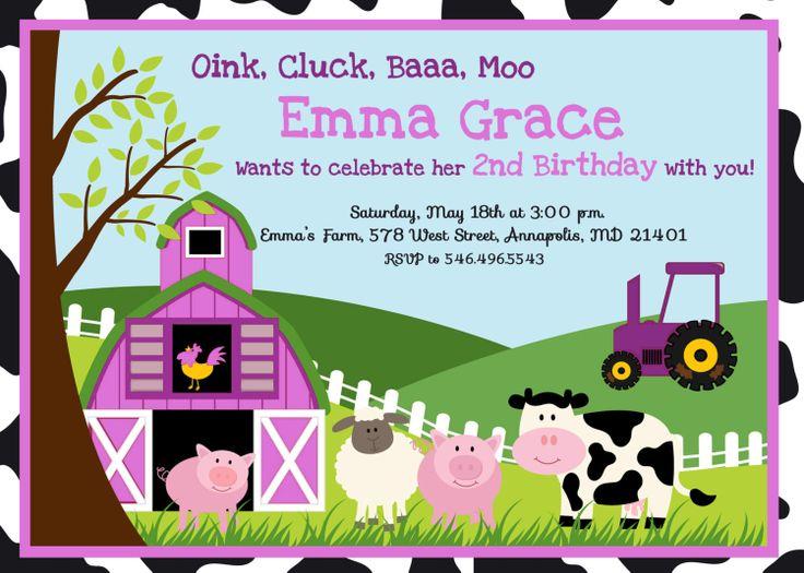 Farm Birthday Party Invitations Etsy